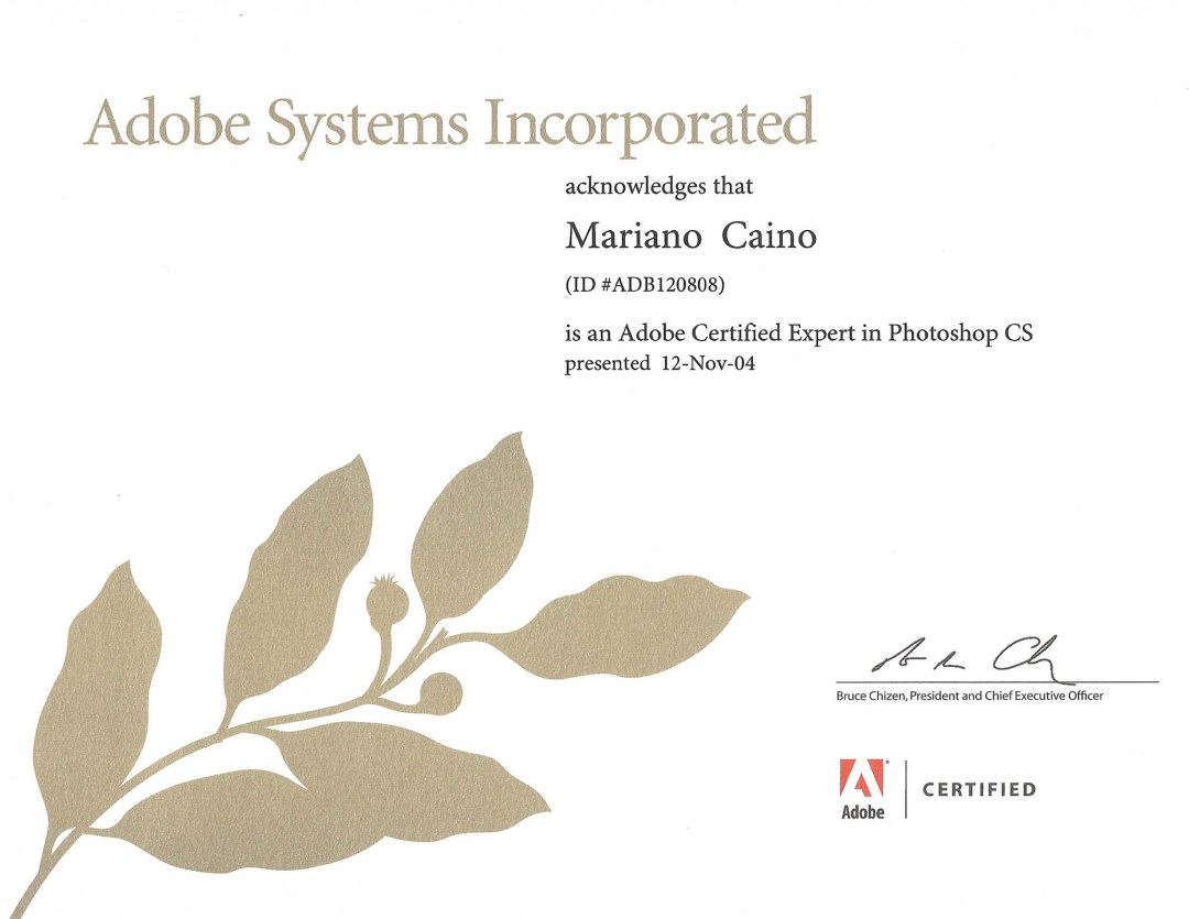 Scan of Adobe Certified Expert in Photoshop CS