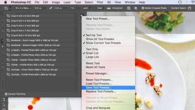 Captura de los ajustes de corte en Adobe Photoshop