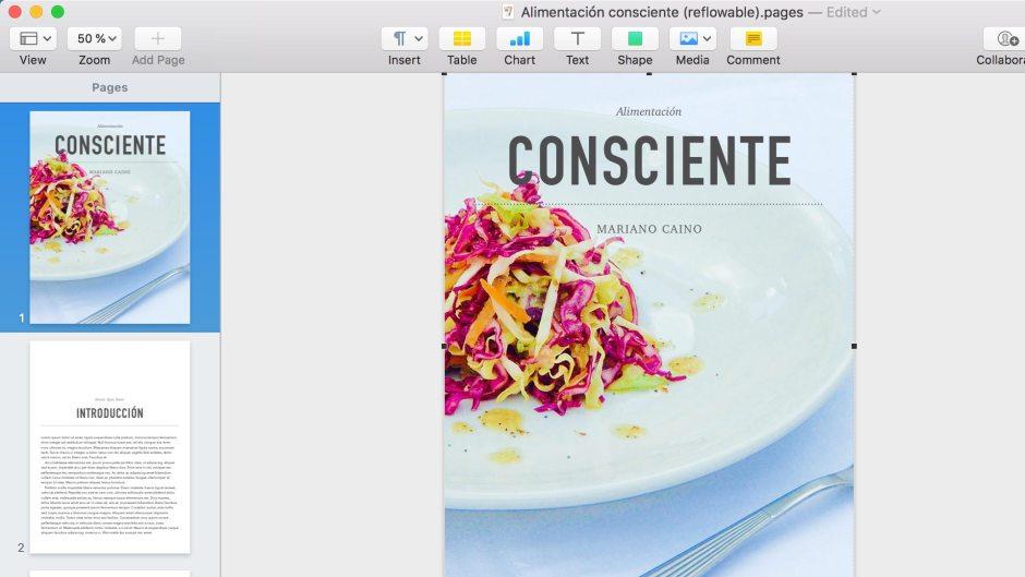 Captura de la aplicación Apple Pages para EPUB de dinámica.