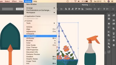 Captura del menú Window en Adobe Illustrator