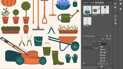 Captura de dibujos vectoriales y el panel de exportación en Adobe Illustrator