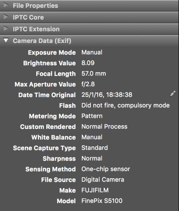 Metadatos: Datos de cámara (Exif)
