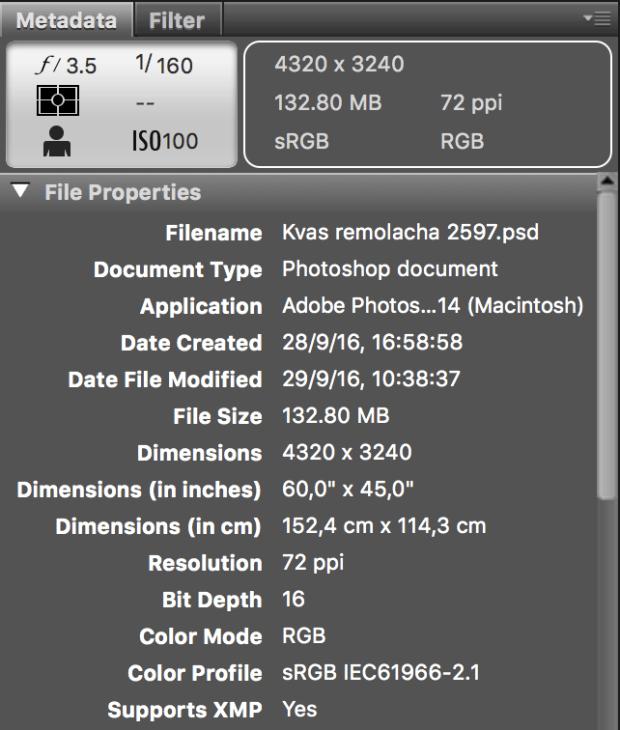Metadatos: Propiedades de archivo