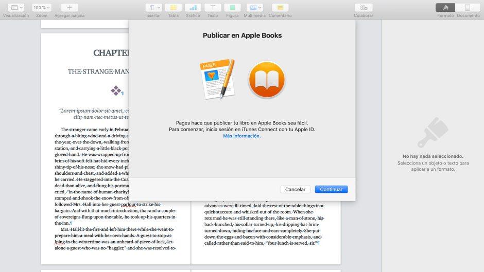 Captura del cuadro previo a la publicación de libros en Apple Books