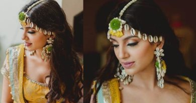Miheeka Bajaj haldi ceremony makeup and hair