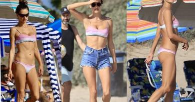 Alessandra Ambrosio models her enviable figure during a beach day