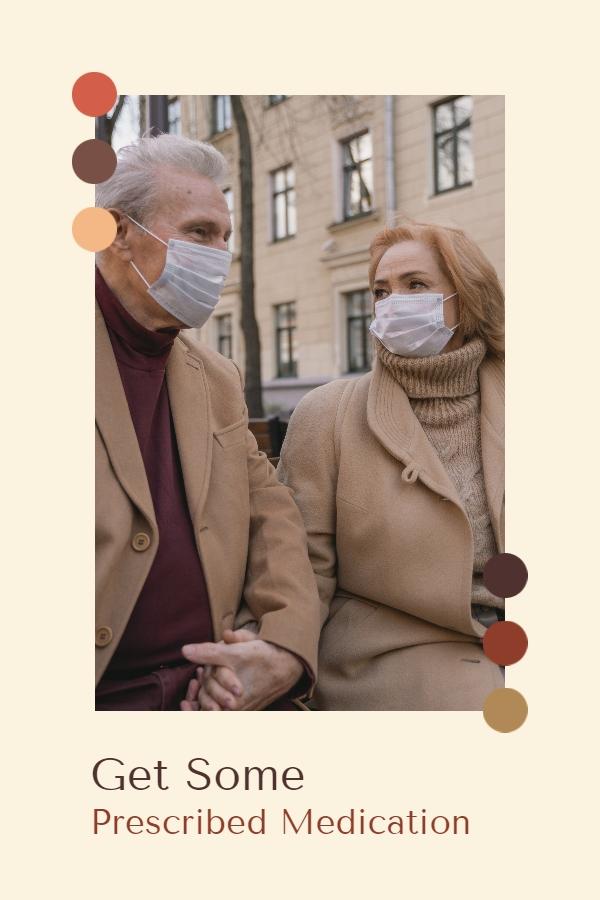 Reçeteli ilaçlar alın - yaşlı çiftin elini tutup maske tak ve birlikte otur