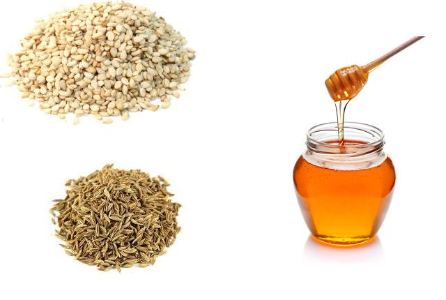Cumin And Sesame Seeds Along With Honey
