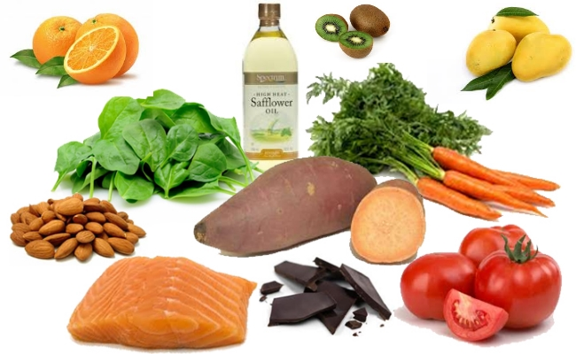 Foods containing essential vitamins