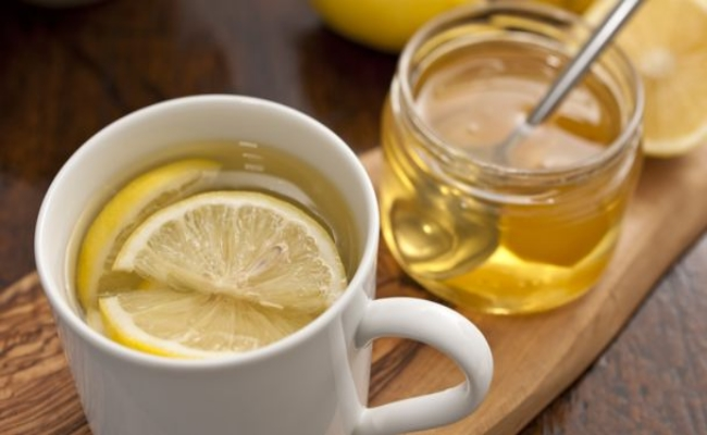 lemon juice and honey in a glass of lukewarm water