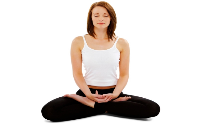 Lotus Pose and Blowing in a firm pose