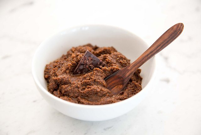 Coconut Oil And Sugar With Cocoa Scrub