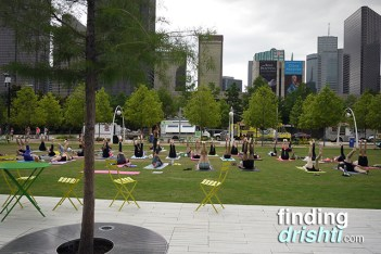Group yoga class on the Great Lawn