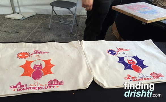 Silk screened canvas bags