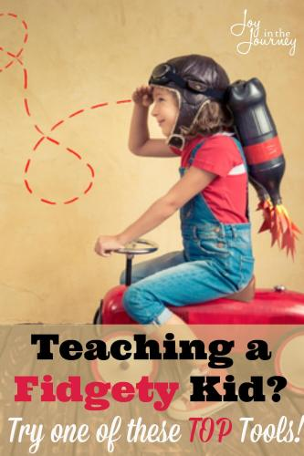 Teaching fidgety kids requires patience, and research.You need tools to help him learn, but that will not distract siblings. Tools for teaching fidgety kids can help