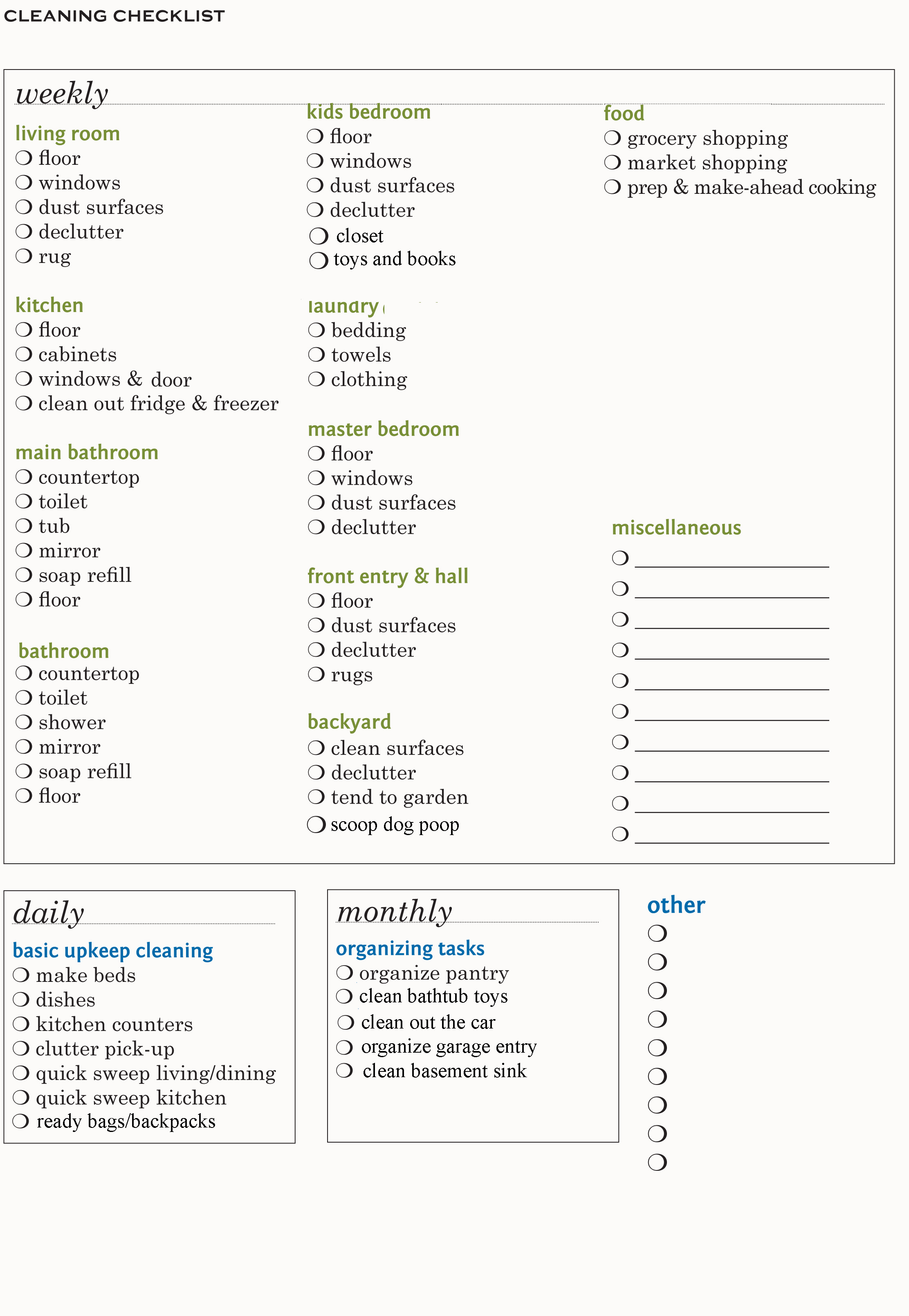 Cleaning Checklist Archives