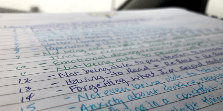 Image of colorful handwritten list of annoying ADHD symptoms