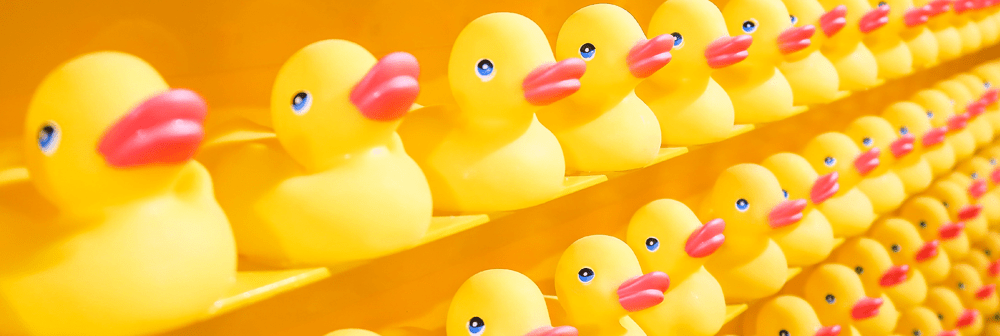 Endless shelves full of yellow rubber duckies to serve as a visual for an ADDer getting their ducks in a row.