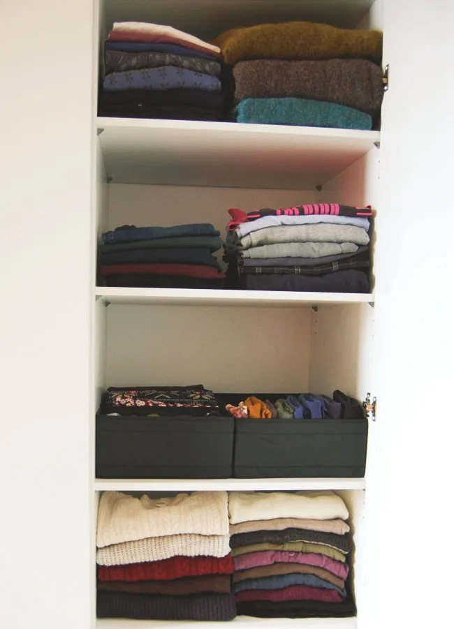 KonMari folded clothes in wardrobe