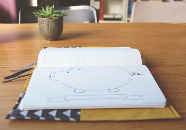 Piggy Bank savings tracker for you bullet journal