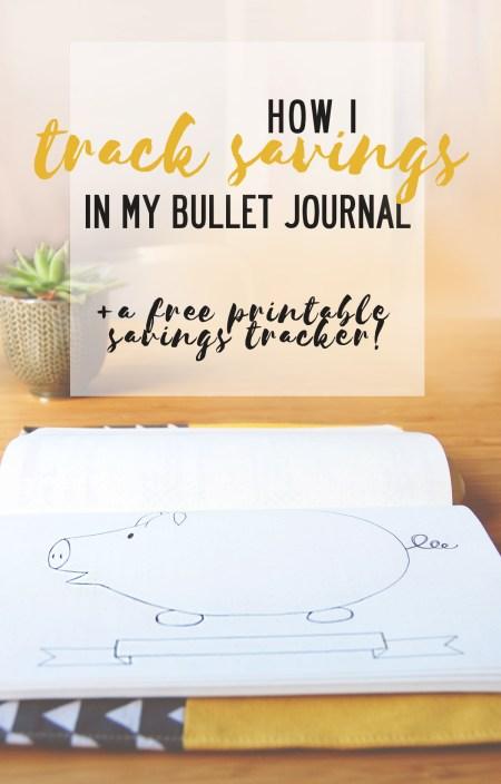 Piggy bank savings tracker for your bullet journal