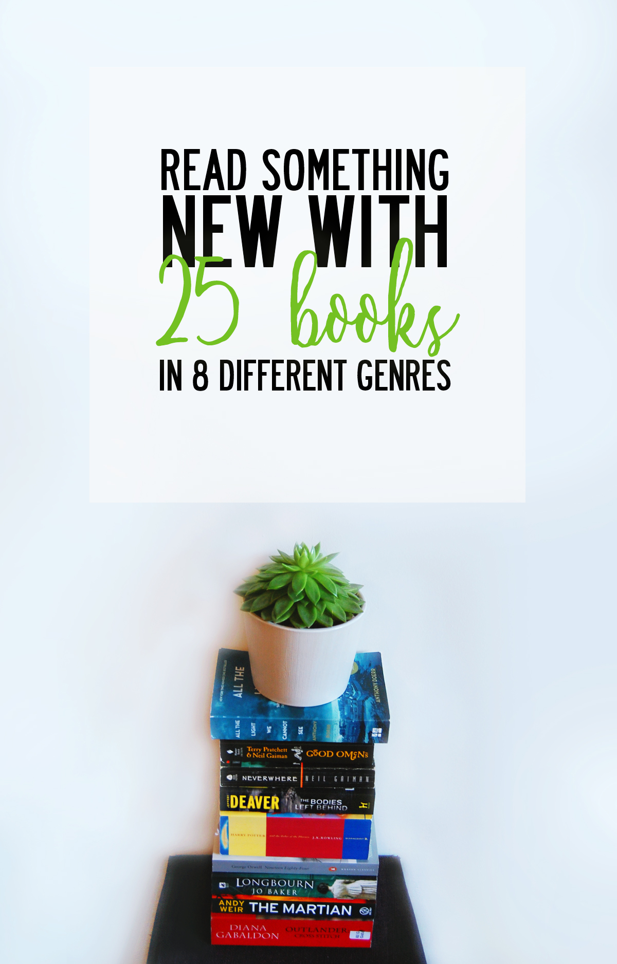 Read something new with 25 books in 8 genres