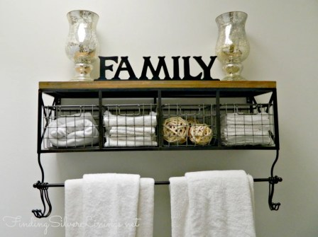 Rustic shelving with metal baskets. Cute!