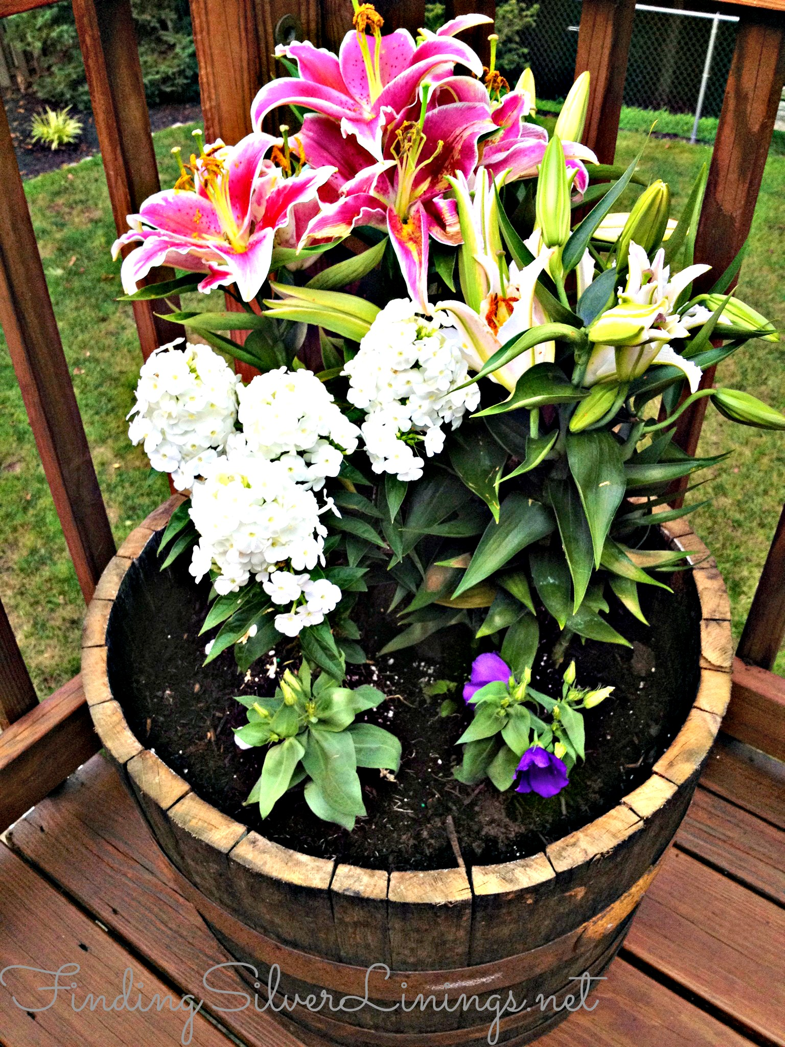 Wine Barrel Planter D I Y Finding Silver Linings