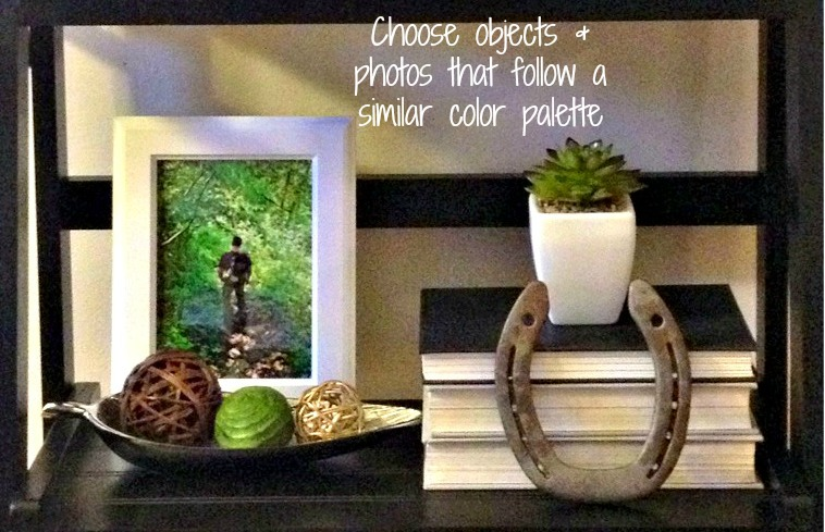 choose objects and photos that follow a similar color palette