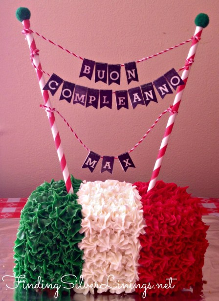 Italian flag smash cake with adorable bunting cake topper