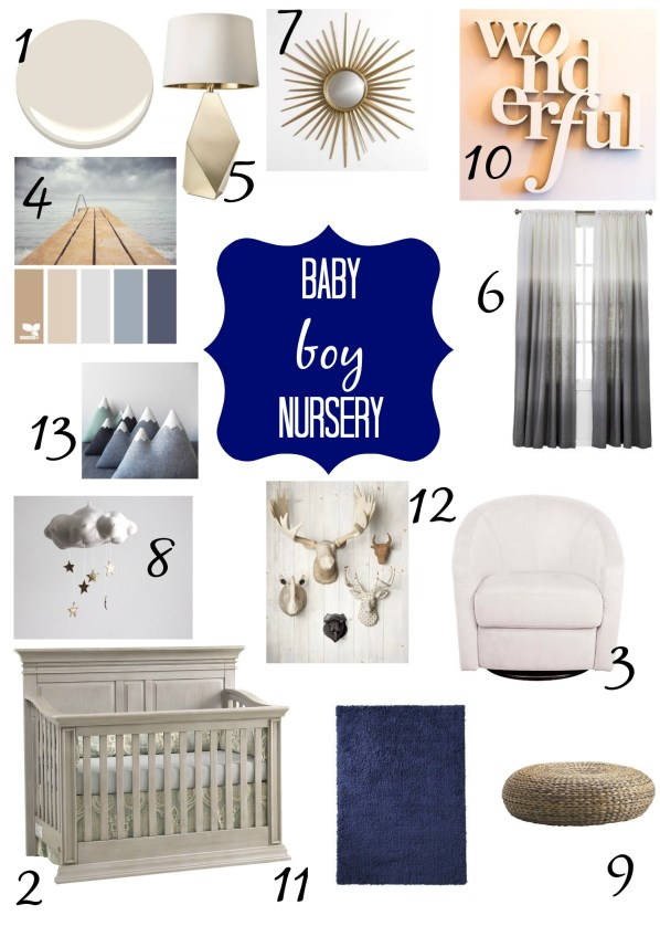 Blue and gray nursery baby boy