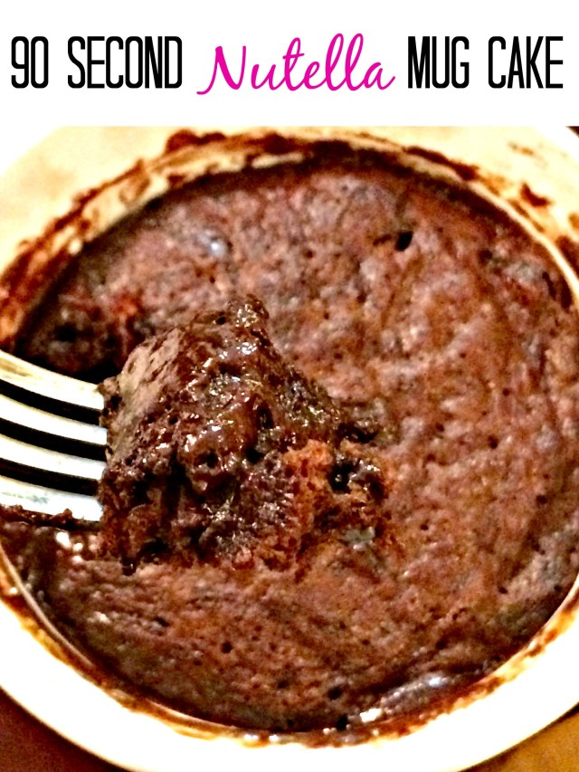Ooey gooey Nutella mug cake in only 90 seconds.  This could be dangerous!!!