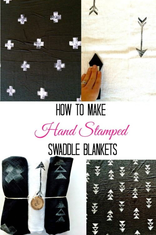 How to make hand stamped DIY swaddle blankets