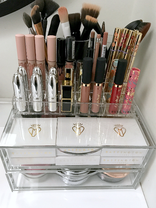 beautiful makeup organizing set up via Finding Silver Linings