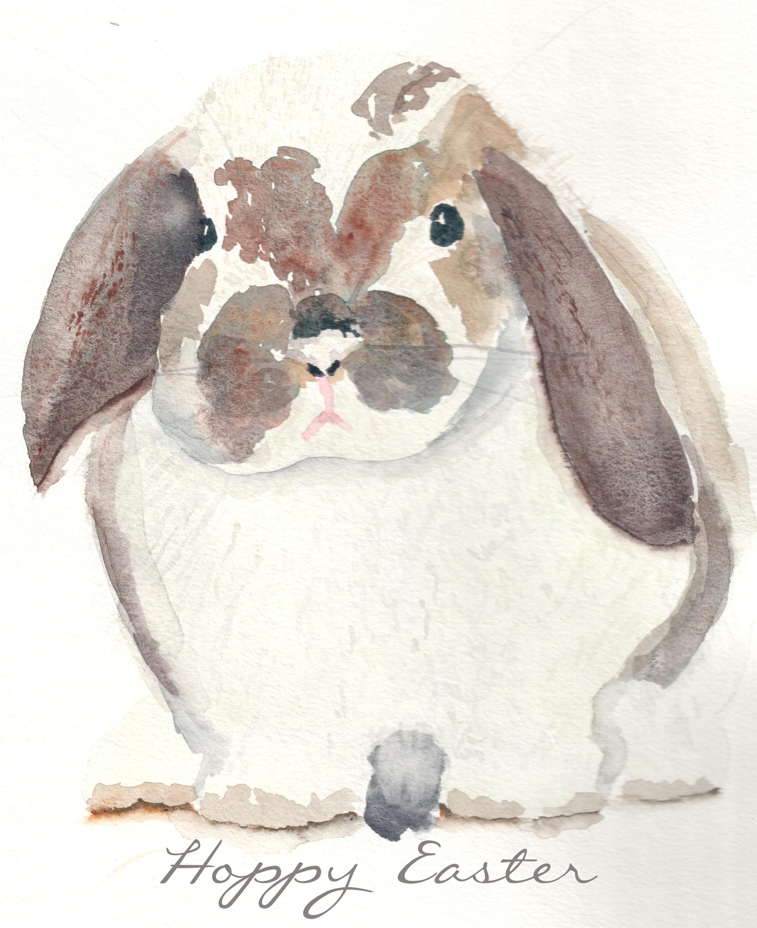 Watercolor Bunny Free Printable
