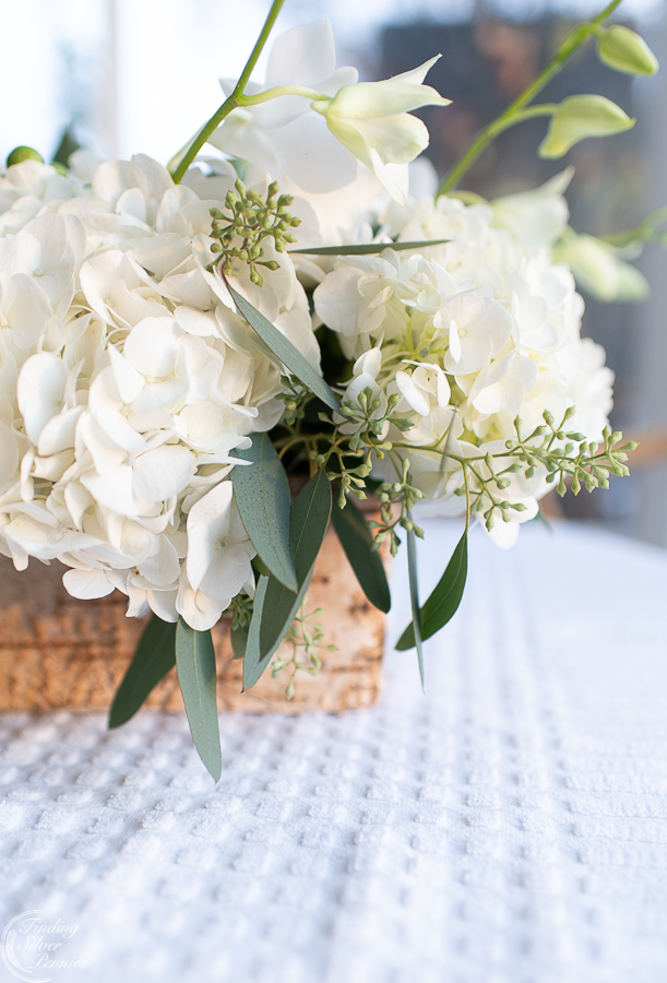 Beautiful White Hydrangea And Eucalyptus Centerpiece Finding