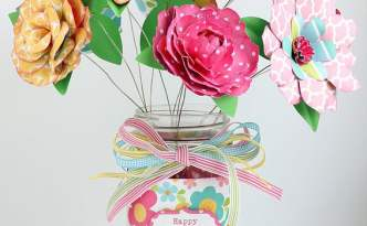 Mason Jar Bouquet, Mothers Day, Paper Flowers