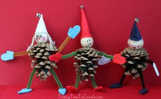 Pinecone elves cut with PDF imported into Silhouette Studio