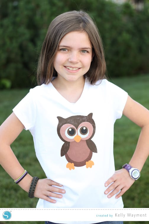 Multi Layer Stencil Owl Shirt - Finding Time To Create