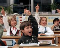 kids raising hands