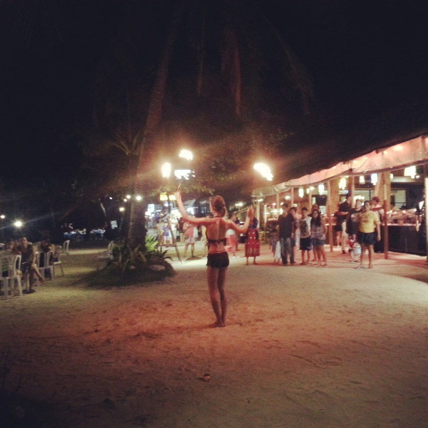 Fire dancers in Boracay at night