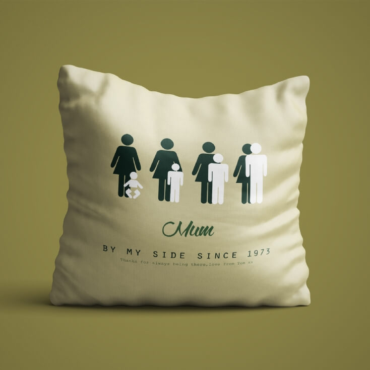 personalised mum by my side cushion