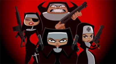 Red background with 4 nuns, each with at least one gun and an intense angry look, from NunAttack game