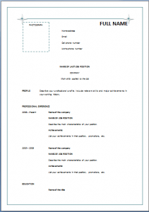 basic chronological resume template open templates skills