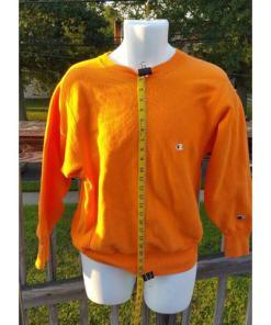 CHAMPION reverse weave sweatshirt Medium Bright Orange 80's 90's Made USA measured