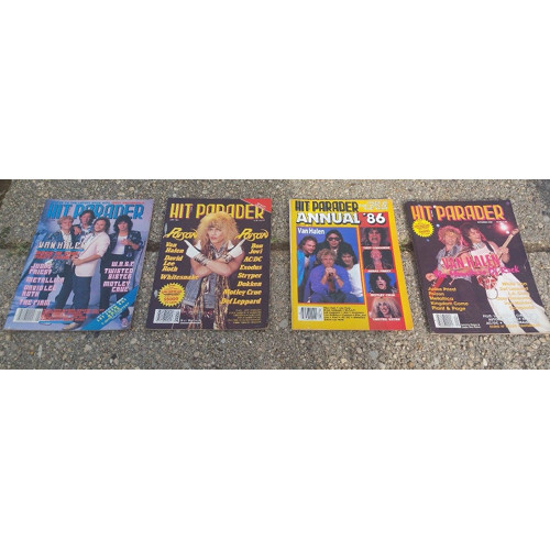 Hit Parader Magazine lot 4. 1980's. Poison, Halen, Lee, Ozzy..more