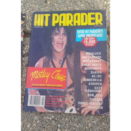 Hit Parader Magazine lot 4. 1980's.Priest, Maiden, Leppard, ACDCmotley