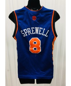Latrell Sprewell NIKE New York Knicks SEWN NBA THROWBACK JERSEY YOUTH LARGE back