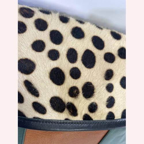 Ronald Furst Design Shoulder Messenger Bag Cheetah Print Fur Flap