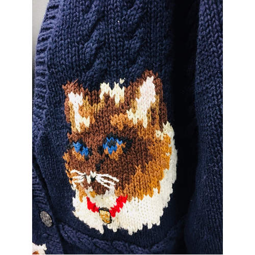 The Eagles Eye Cat Theme English Hand Knit Cardigan Sweater Medium Ugly Sweater cat